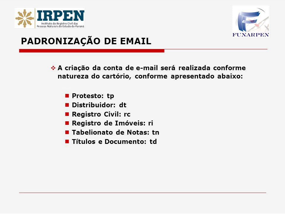 A criação da conta de e-mail será realizada conforme natureza do cartório, conforme apresentado abaixo: Protesto: tp Distribuidor: dt Registro Civil: