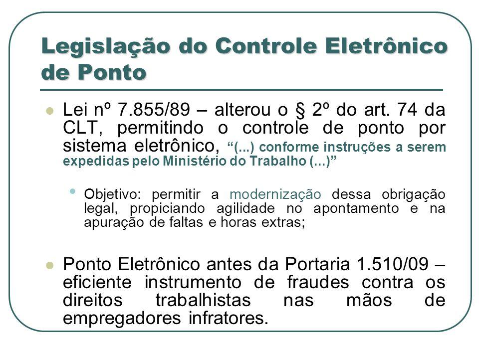 Questões sobre a Portaria 1.510 Impede o controle de entrada e saída no ambiente de trabalho.