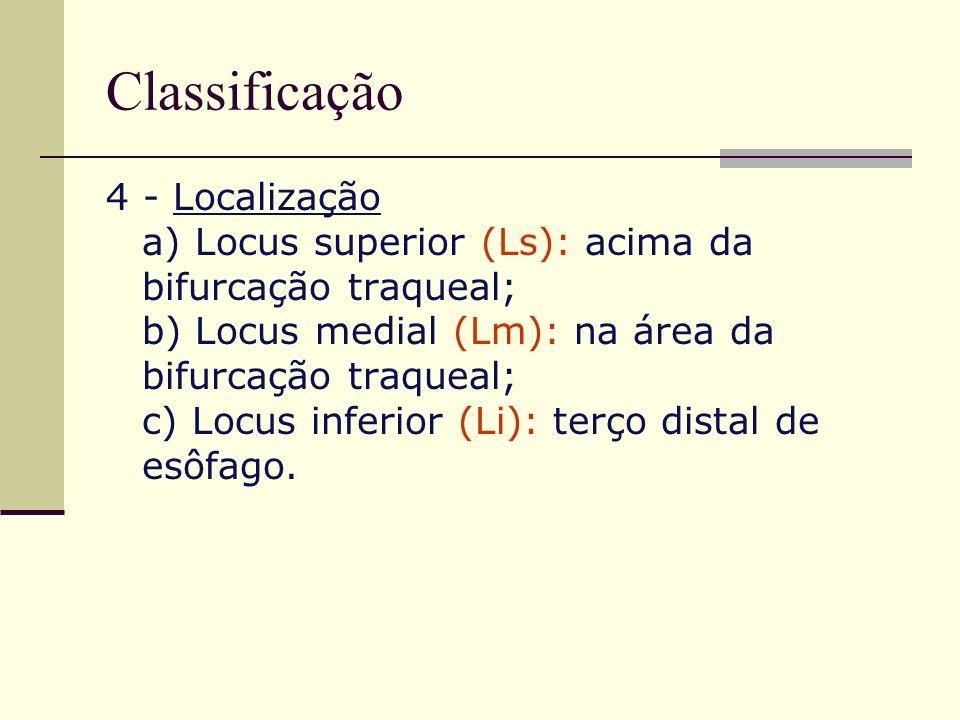 Classificação 4 - Localização a) Locus superior (Ls): acima da bifurcação traqueal; b) Locus medial (Lm): na área da bifurcação traqueal; c) Locus inf