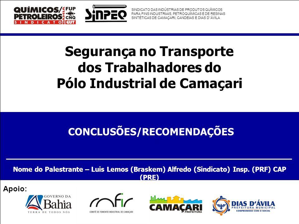 Segurança no Transporte dos Trabalhadores do Pólo Industrial de Camaçari CONCLUSÕES/RECOMENDAÇÕES Nome do Palestrante – Luis Lemos (Braskem) Alfredo (