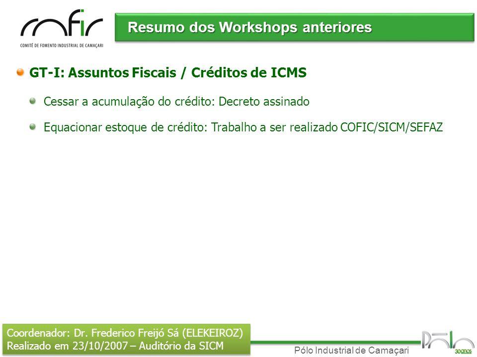 Pólo Industrial de Camaçari Resumo dos Workshops anteriores GT-I: Assuntos Fiscais / Créditos de ICMS Cessar a acumulação do crédito: Decreto assinado