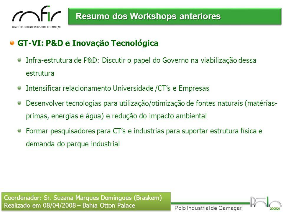 Pólo Industrial de Camaçari Resumo dos Workshops anteriores GT-VI: P&D e Inovação Tecnológica Infra-estrutura de P&D: Discutir o papel do Governo na v