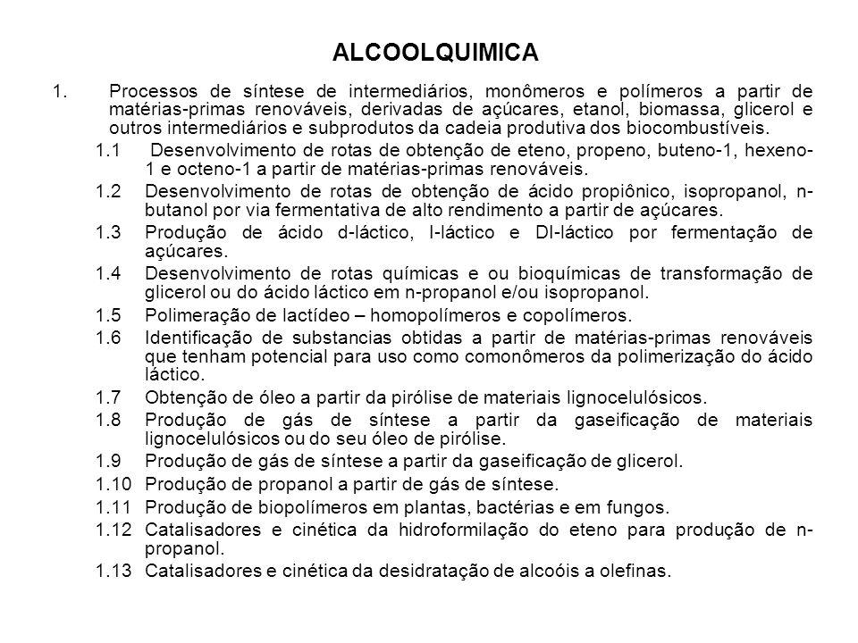 ALCOOLQUIMICA 1.Processos de síntese de intermediários, monômeros e polímeros a partir de matérias-primas renováveis, derivadas de açúcares, etanol, b