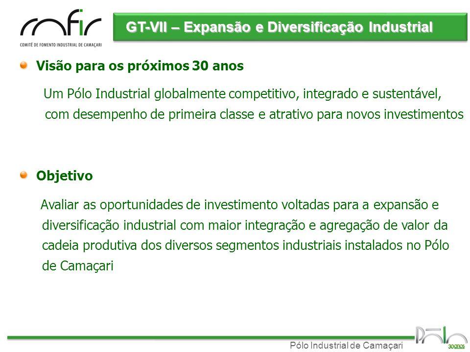 Pólo Industrial de Camaçari GT-VII – Expansão e Diversificação Industrial Objetivo Avaliar as oportunidades de investimento voltadas para a expansão e