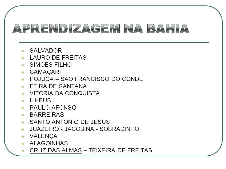 SALVADOR LAURO DE FREITAS SIMOES FILHO CAMAÇARI POJUCA – SÃO FRANCISCO DO CONDE FEIRA DE SANTANA VITORIA DA CONQUISTA ILHEUS PAULO AFONSO BARREIRAS SA