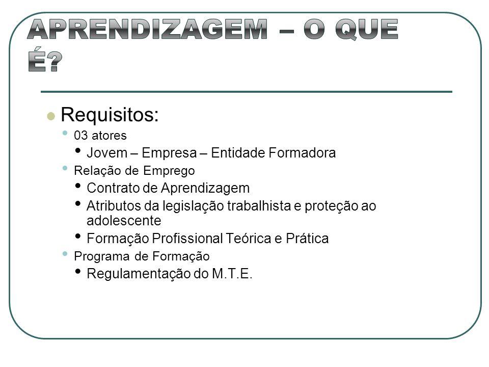 Requisitos: 03 atores Jovem – Empresa – Entidade Formadora Relação de Emprego Contrato de Aprendizagem Atributos da legislação trabalhista e proteção
