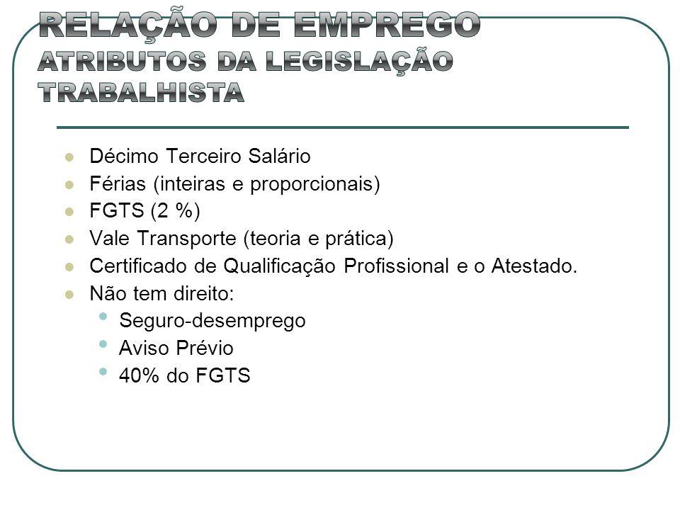 Décimo Terceiro Salário Férias (inteiras e proporcionais) FGTS (2 %) Vale Transporte (teoria e prática) Certificado de Qualificação Profissional e o A