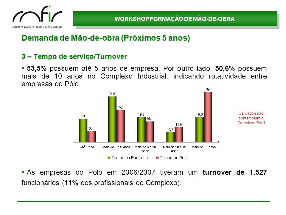 WORKSHOP FORMAÇÃO DE MÃO-DE-OBRA Demanda de Mão-de-obra (Próximos 5 anos) 3 – Tempo de serviço/Turnover 53,5% possuem até 5 anos de empresa. Por outro