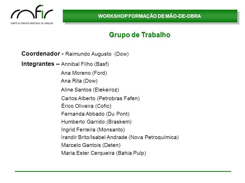 WORKSHOP FORMAÇÃO DE MÃO-DE-OBRA Coordenador - Raimundo Augusto (Dow) Integrantes – Annibal Filho (Basf) Ana Moreno (Ford) Ana Rita (Dow) Aline Santos