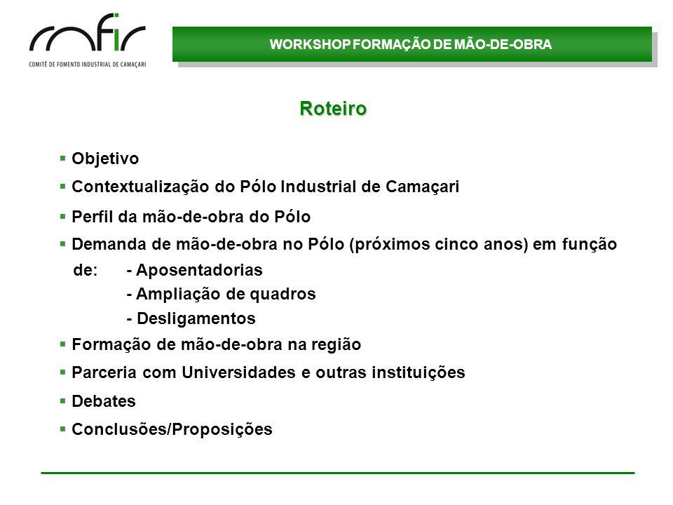 WORKSHOP FORMAÇÃO DE MÃO-DE-OBRA Objetivo Contextualização do Pólo Industrial de Camaçari Perfil da mão-de-obra do Pólo Demanda de mão-de-obra no Pólo