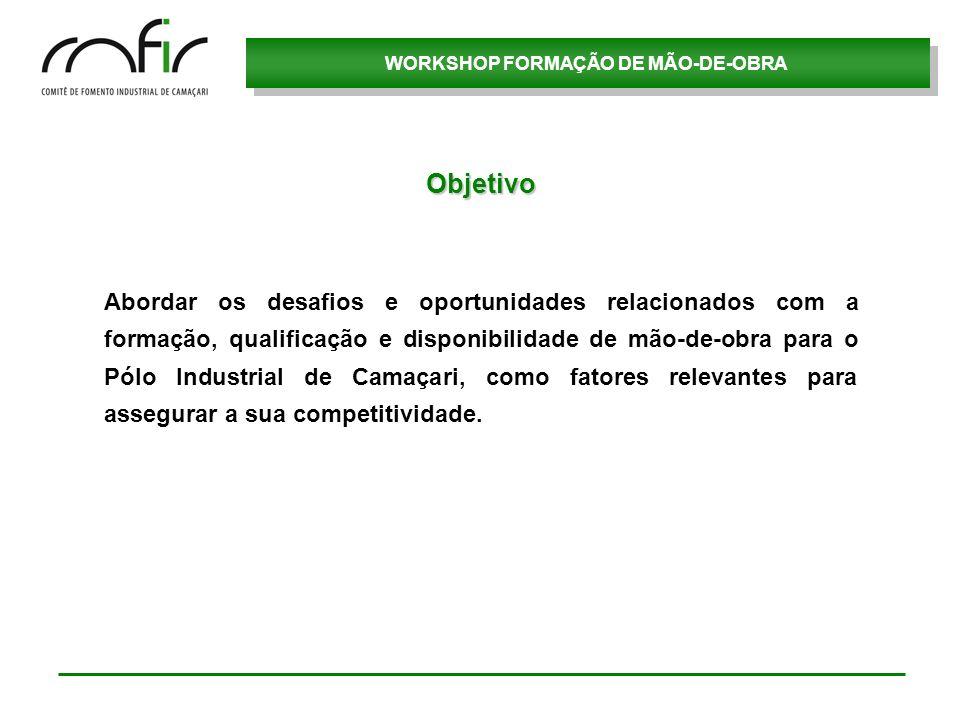 WORKSHOP FORMAÇÃO DE MÃO-DE-OBRA Demanda de Mão-de-obra (Próximos 5 anos) 3 – Tempo de serviço/Turnover 53,5% possuem até 5 anos de empresa.