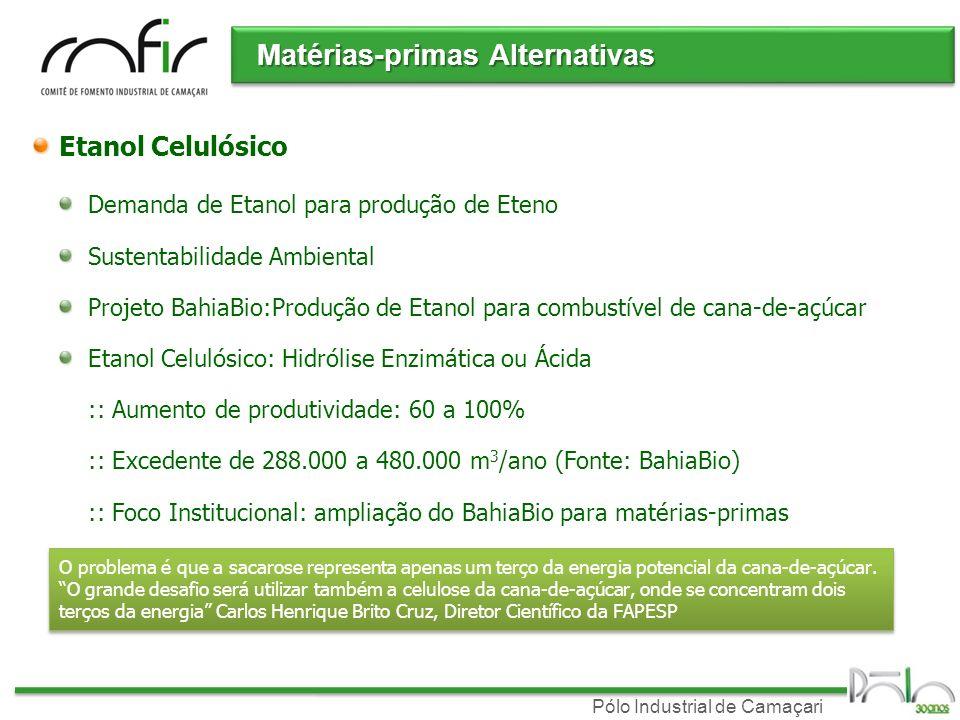 Pólo Industrial de Camaçari Demanda de Etanol para produção de Eteno Sustentabilidade Ambiental Projeto BahiaBio:Produção de Etanol para combustível d