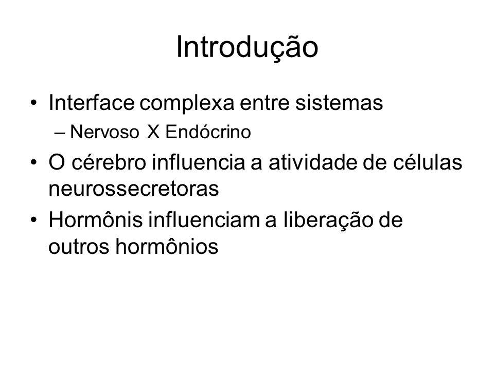 Introdução Interface complexa entre sistemas –Nervoso X Endócrino O cérebro influencia a atividade de células neurossecretoras Hormônis influenciam a
