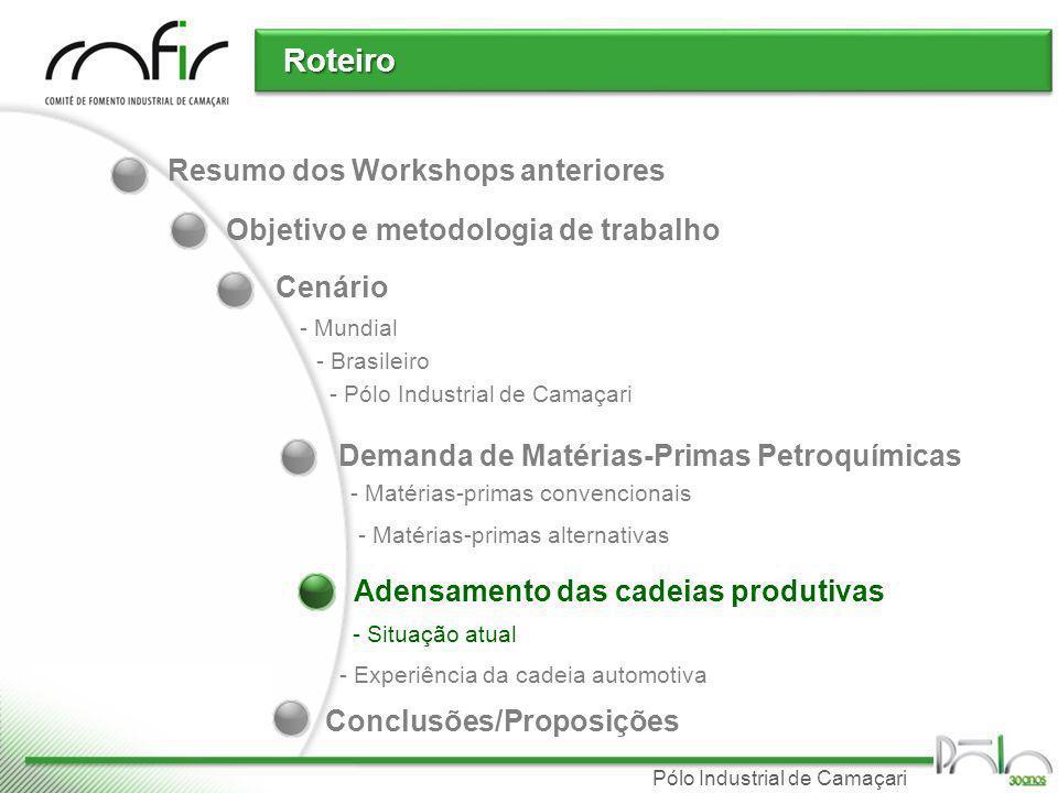 Pólo Industrial de Camaçari Resumo dos Workshops anteriores Cenário Roteiro Demanda de Matérias-Primas Petroquímicas Conclusões/Proposições - Mundial