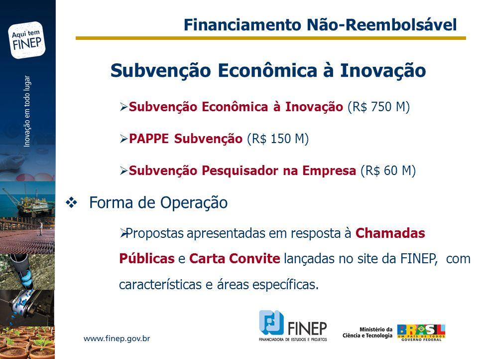 Subvenção Econômica à Inovação Subvenção Econômica à Inovação (R$ 750 M) PAPPE Subvenção (R$ 150 M) Subvenção Pesquisador na Empresa (R$ 60 M) Forma d