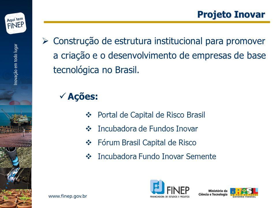 Construção de estrutura institucional para promover a criação e o desenvolvimento de empresas de base tecnológica no Brasil. Ações: Portal de Capital