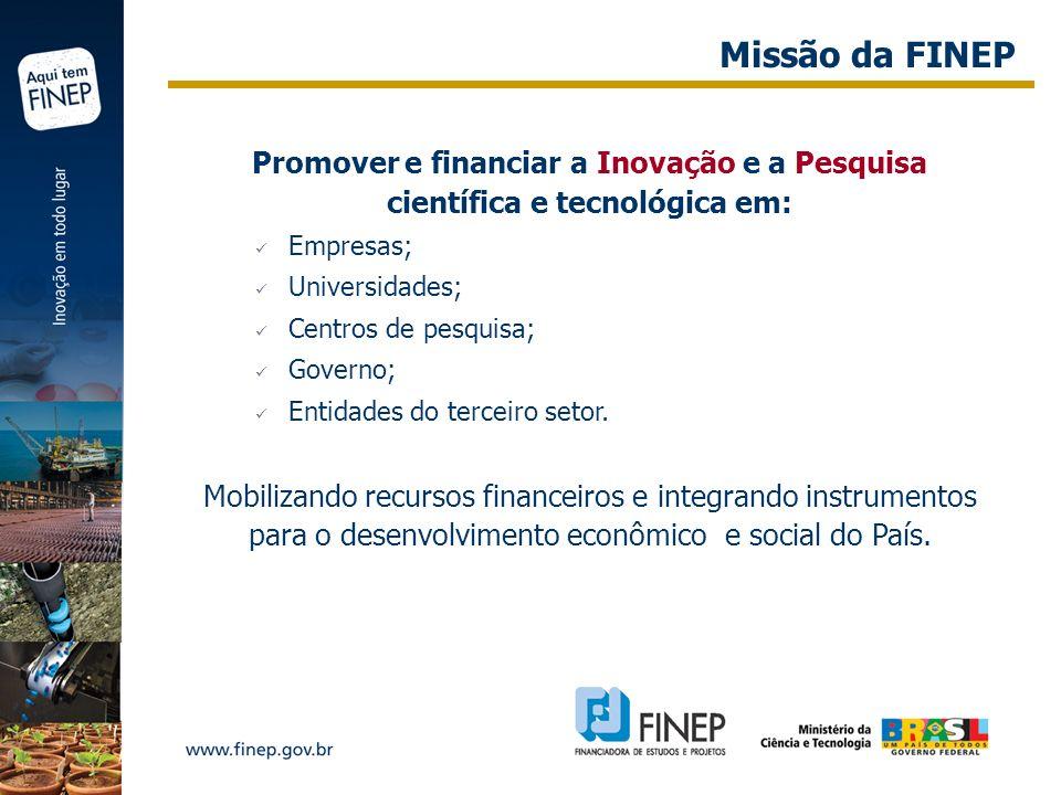 Promover e financiar a Inovação e a Pesquisa científica e tecnológica em: Empresas; Universidades; Centros de pesquisa; Governo; Entidades do terceiro