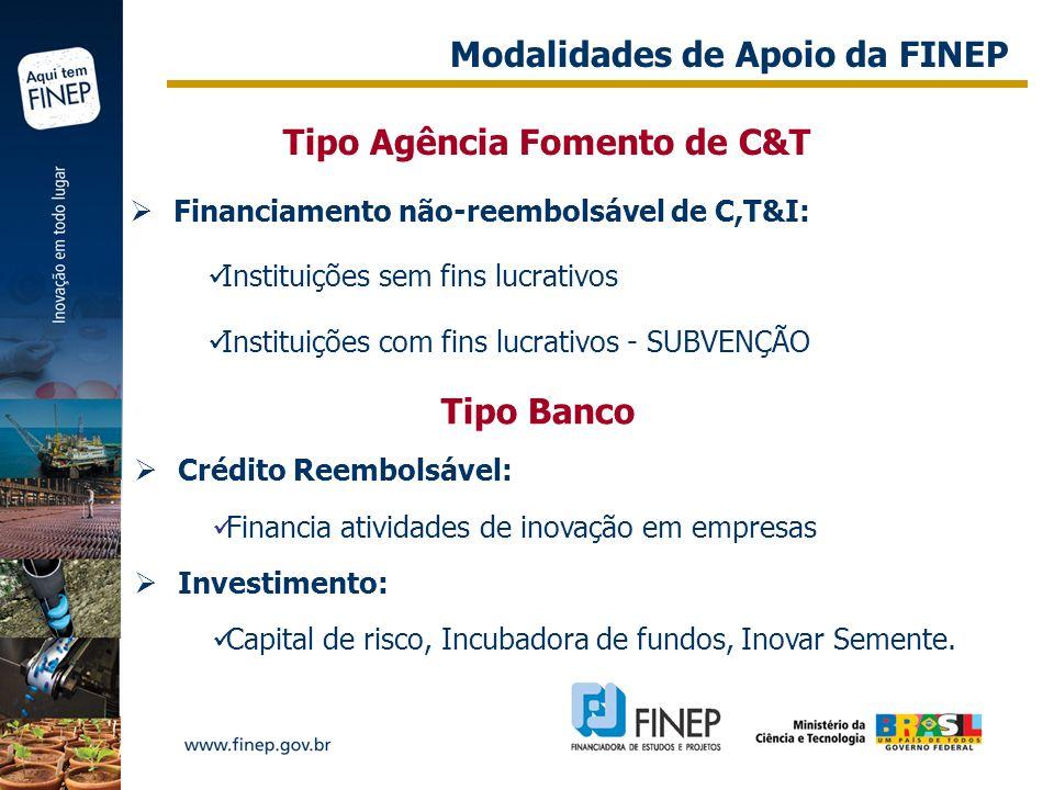 Tipo Agência Fomento de C&T Financiamento não-reembolsável de C,T&I: Instituições sem fins lucrativos Instituições com fins lucrativos - SUBVENÇÃO Tip