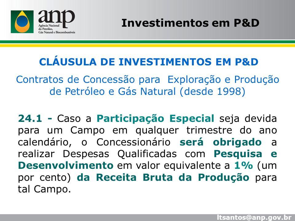 Investimentos em P&D CLÁUSULA DE INVESTIMENTOS EM P&D Contratos de Concessão para Exploração e Produção de Petróleo e Gás Natural (desde 1998) 24.1 -