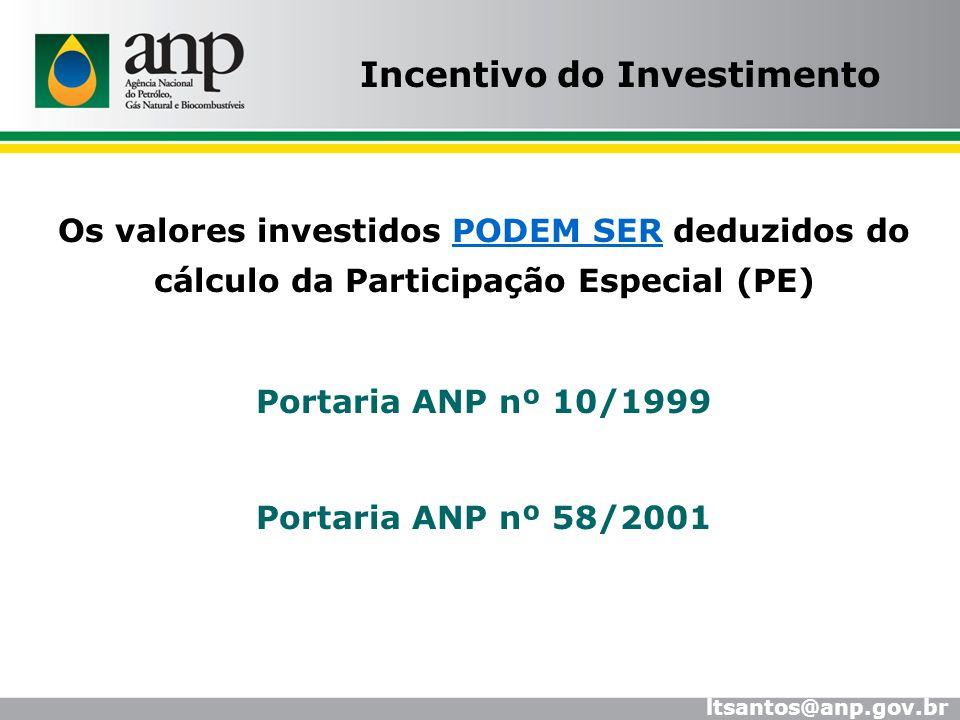 Os valores investidos PODEM SER deduzidos do cálculo da Participação Especial (PE) Portaria ANP nº 10/1999 Portaria ANP nº 58/2001 Incentivo do Invest