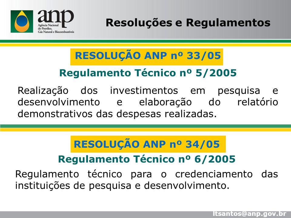 RESOLUÇÃO ANP nº 34/05 Regulamento Técnico nº 6/2005 Regulamento técnico para o credenciamento das instituições de pesquisa e desenvolvimento. RESOLUÇ