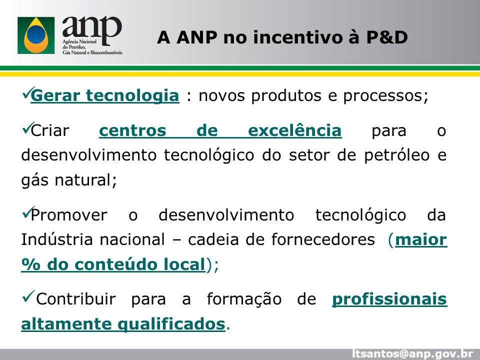 Gerar tecnologia : novos produtos e processos; Criar centros de excelência para o desenvolvimento tecnológico do setor de petróleo e gás natural; Prom