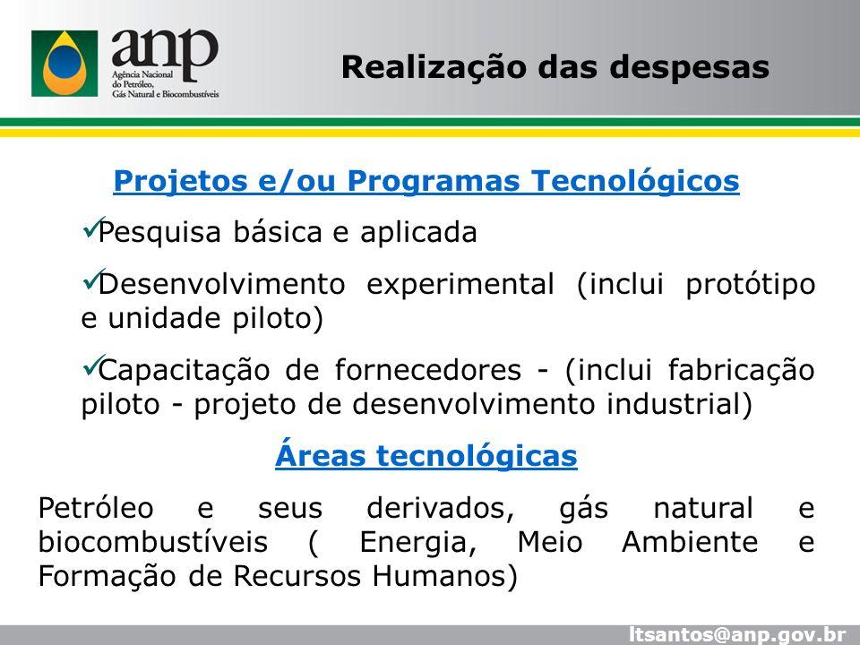 Projetos e/ou Programas Tecnológicos Pesquisa básica e aplicada Desenvolvimento experimental (inclui protótipo e unidade piloto) Capacitação de fornec