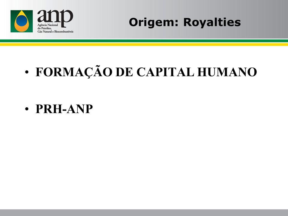 Origem: Royalties FORMAÇÃO DE CAPITAL HUMANO PRH-ANP
