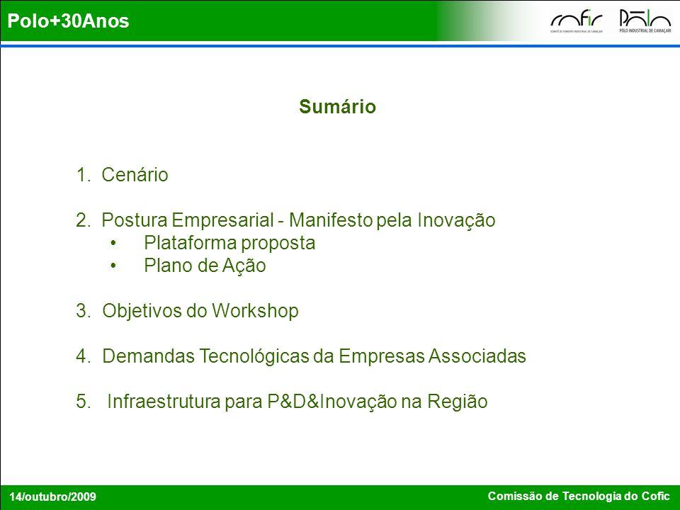 Polo+30Anos Comissão de Tecnologia do Cofic 14/outubro/2009 Sumário 1.Cenário 2.Postura Empresarial - Manifesto pela Inovação Plataforma proposta Plan