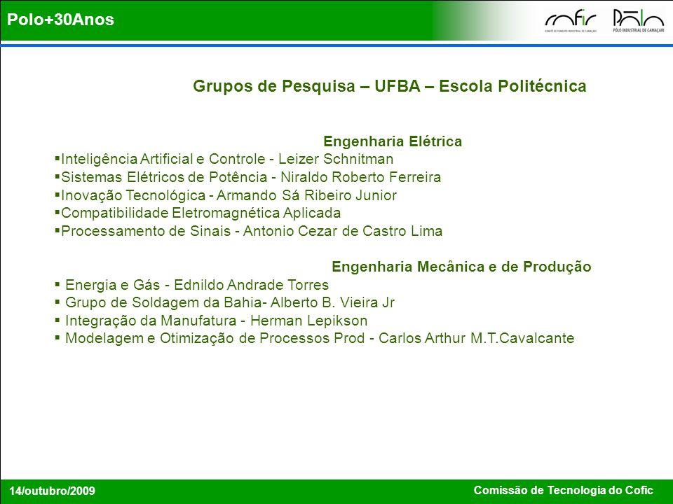 Comissão de Tecnologia do Cofic 14/outubro/2009 Grupos de Pesquisa – UFBA – Escola Politécnica Engenharia Elétrica Inteligência Artificial e Controle