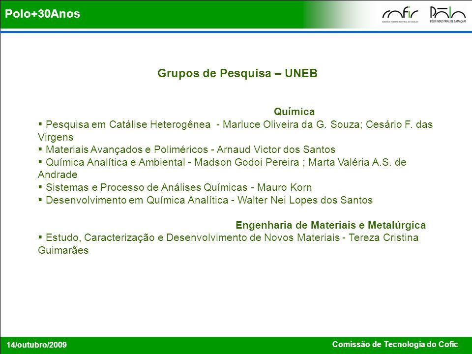 Comissão de Tecnologia do Cofic 14/outubro/2009 Grupos de Pesquisa – UNEB Química Pesquisa em Catálise Heterogênea - Marluce Oliveira da G. Souza; Ces