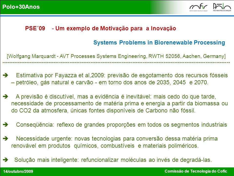 Comissão de Tecnologia do Cofic 14/outubro/2009 Polo+30Anos PSE´09 - Um exemplo de Motivação para a Inovação Systems Problems in Biorenewable Processi
