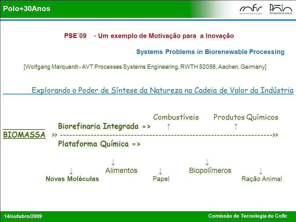 Comissão de Tecnologia do Cofic 14/outubro/2009 PSE´09 - Um exemplo de Motivação para a Inovação Systems Problems in Biorenewable Processing [Wolfgang