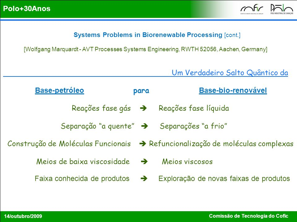 Comissão de Tecnologia do Cofic 14/outubro/2009 Systems Problems in Biorenewable Processing [cont.] [Wolfgang Marquardt - AVT Processes Systems Engine