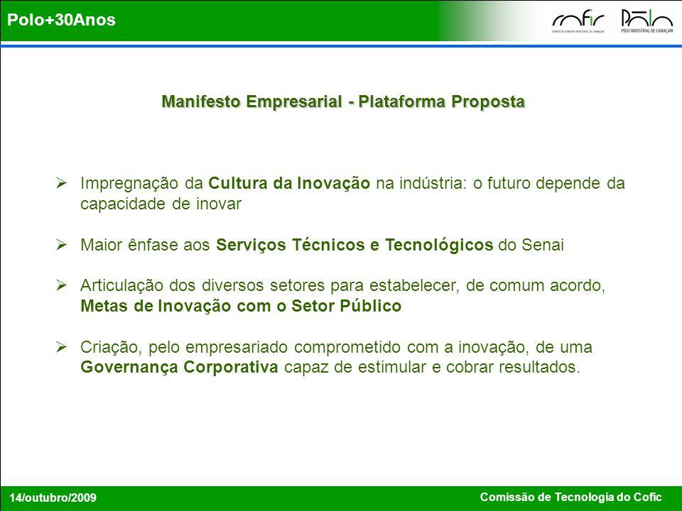 Comissão de Tecnologia do Cofic 14/outubro/2009 Manifesto Empresarial – Plano de Ação Fazer da inovação uma prioridade estratégica das empresas, independente de seu porte e setor de atividade.