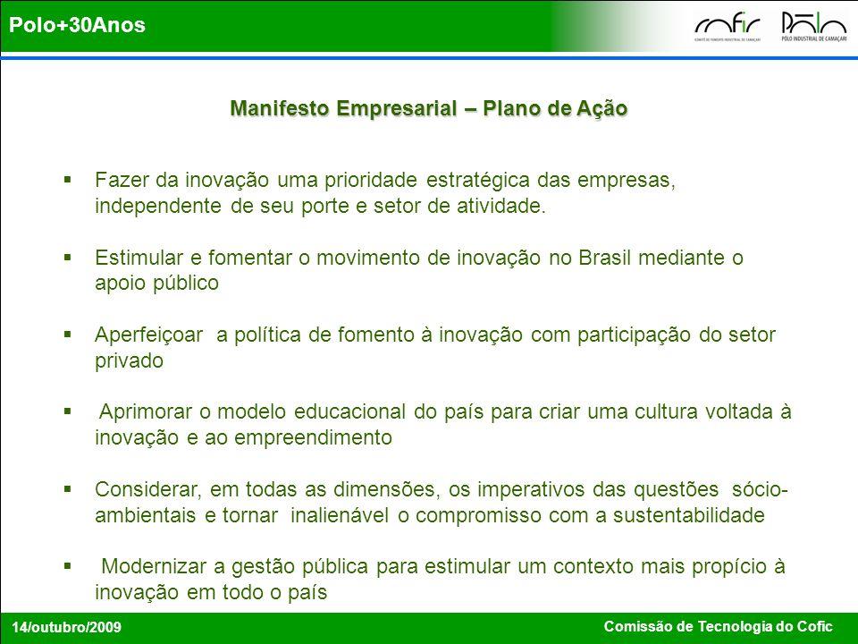 Comissão de Tecnologia do Cofic 14/outubro/2009 Manifesto Empresarial – Plano de Ação Fazer da inovação uma prioridade estratégica das empresas, indep