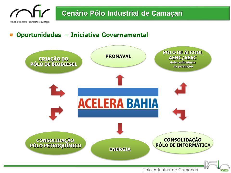 Pólo Industrial de Camaçari Cenário Pólo Industrial de Camaçari Oportunidades – Iniciativa Governamental CRIAÇÃO DO PÓLO DE BIODIESEL CRIAÇÃO DO PÓLO