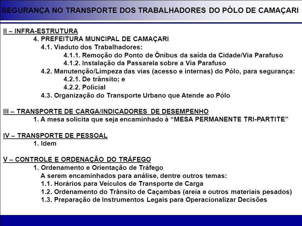 SEGURANÇA NO TRANSPORTE DOS TRABALHADORES DO PÓLO DE CAMAÇARI II – INFRA-ESTRUTURA 4. PREFEITURA MUNCIPAL DE CAMAÇARI 4.1. Viaduto dos Trabalhadores: