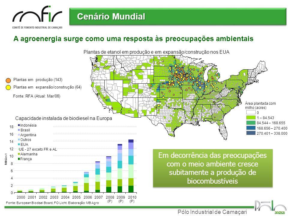 Pólo Industrial de Camaçari Plantas em expansão/construção (64) Plantas em produção (143) Fonte: RFA (Atual: Mar/08) Área plantada com milho (acres) 0