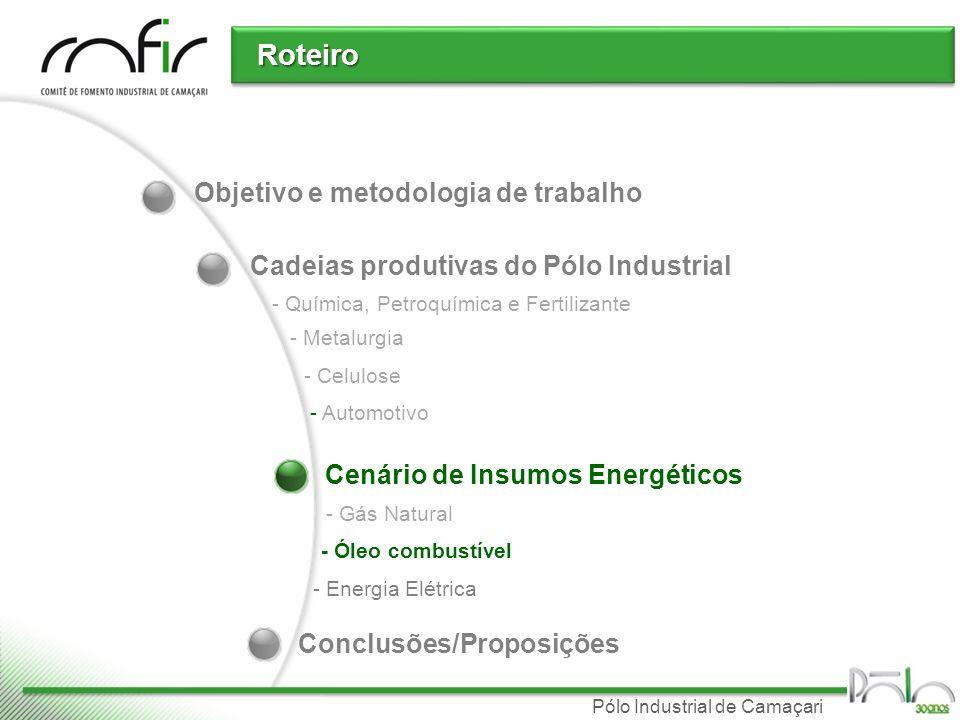 Pólo Industrial de Camaçari Óleo combustível Utilização principalmente para geração de vapor e energia elétrica Oferta Atualmente: Brasil Exporta óleo combustível Evolução da Produção por região