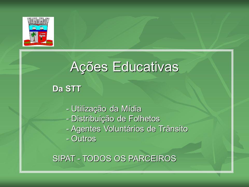 Ações Educativas Da STT - Utilização da Mídia - Utilização da Mídia - Distribuição de Folhetos - Distribuição de Folhetos - Agentes Voluntários de Trâ