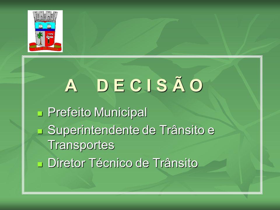 A D E C I S Ã O Prefeito Municipal Prefeito Municipal Superintendente de Trânsito e Transportes Superintendente de Trânsito e Transportes Diretor Técn