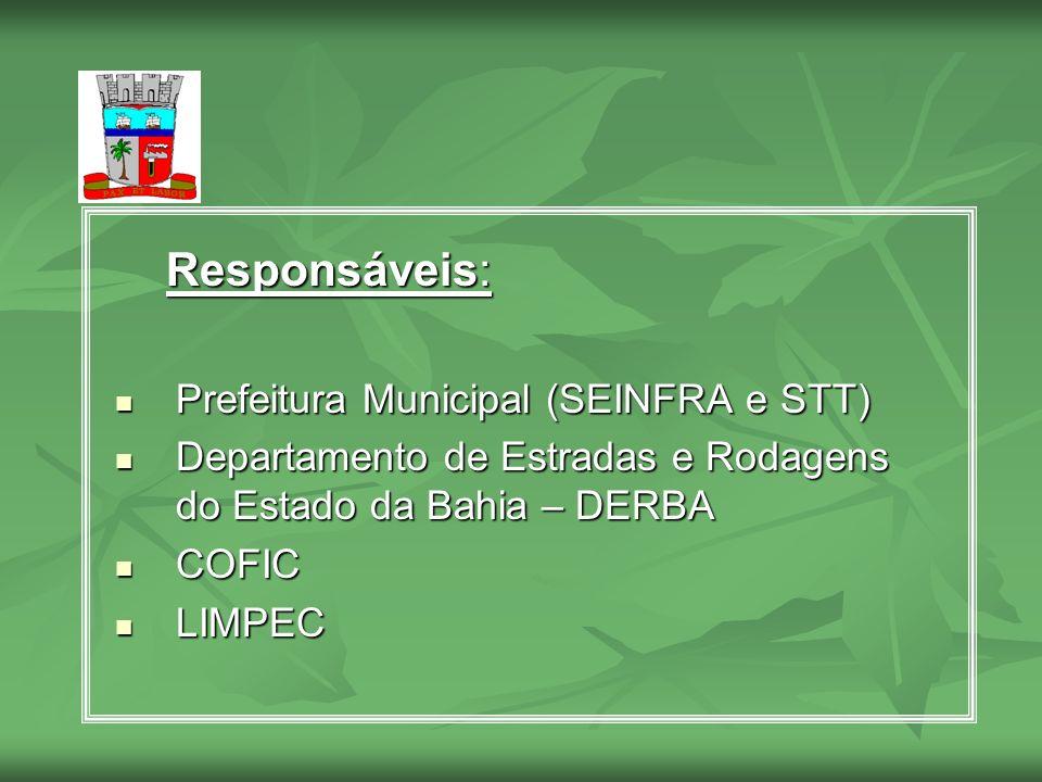 Responsáveis: Responsáveis: Prefeitura Municipal (SEINFRA e STT) Prefeitura Municipal (SEINFRA e STT) Departamento de Estradas e Rodagens do Estado da