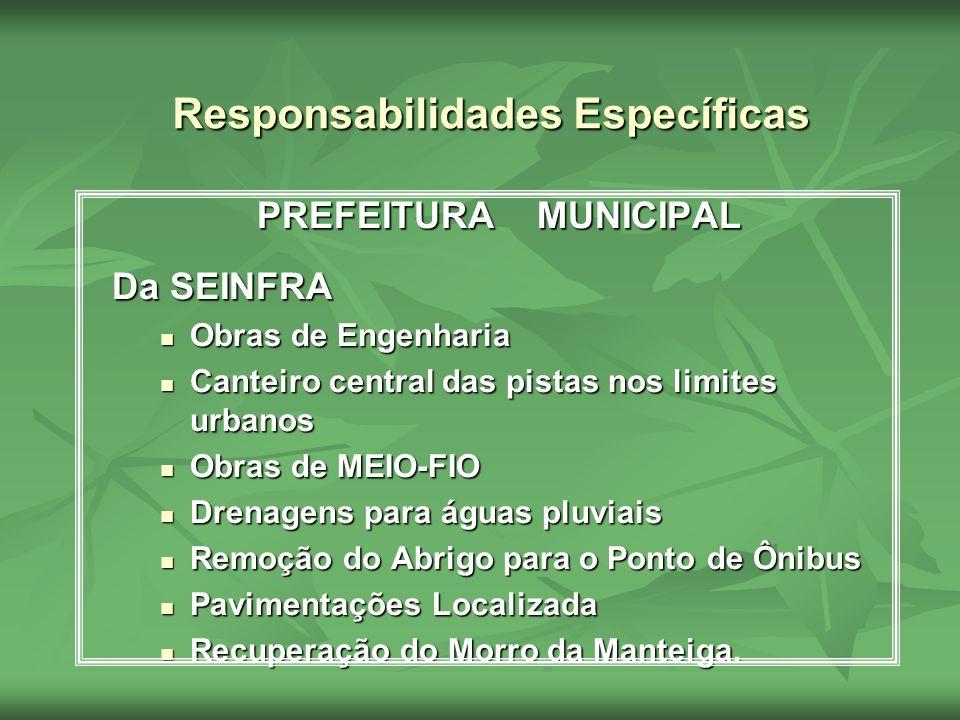 Responsabilidades Específicas PREFEITURA MUNICIPAL Da SEINFRA Obras de Engenharia Obras de Engenharia Canteiro central das pistas nos limites urbanos
