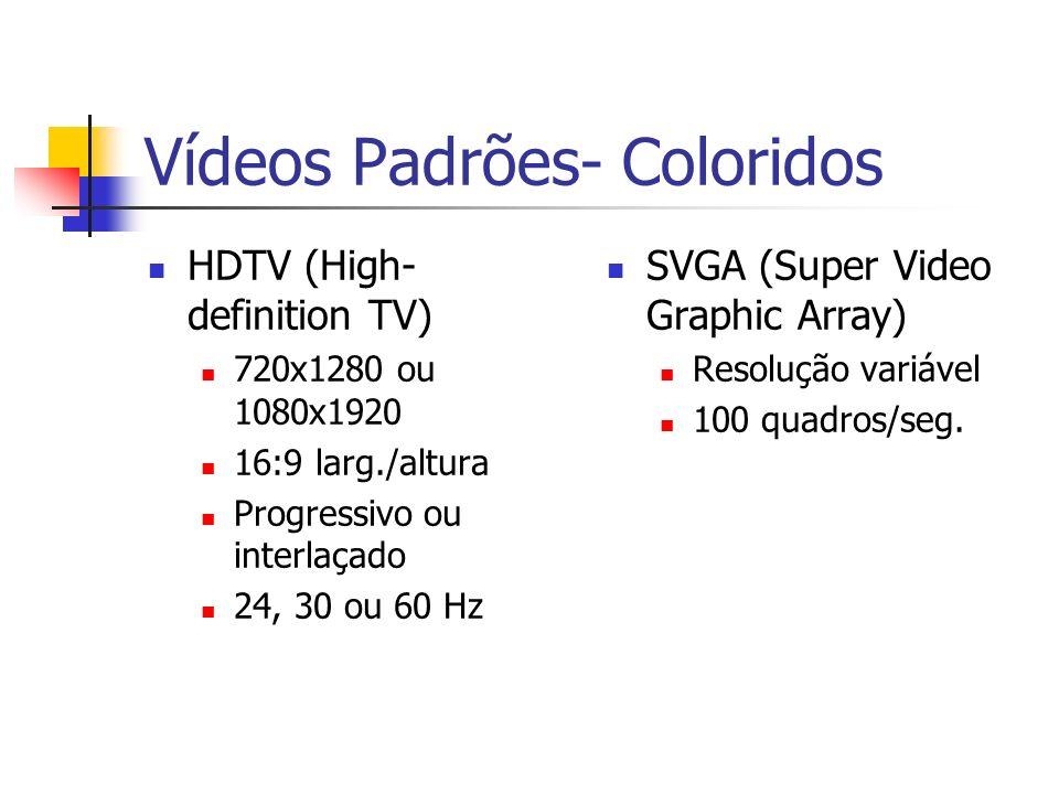 Vídeos Padrões- Coloridos HDTV (High- definition TV) 720x1280 ou 1080x1920 16:9 larg./altura Progressivo ou interlaçado 24, 30 ou 60 Hz SVGA (Super Video Graphic Array) Resolução variável 100 quadros/seg.