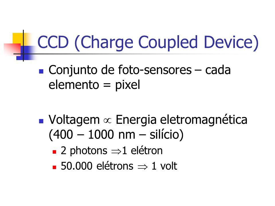 CCD (Charge Coupled Device) Conjunto de foto-sensores – cada elemento = pixel Voltagem Energia eletromagnética (400 – 1000 nm – silício) 2 photons 1 elétron 50.000 elétrons 1 volt