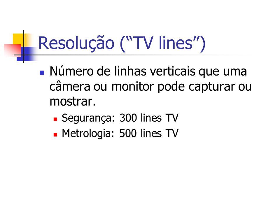 Resolução (TV lines) Número de linhas verticais que uma câmera ou monitor pode capturar ou mostrar.