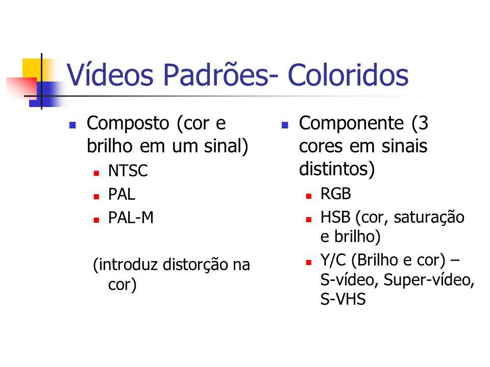 Vídeos Padrões- Coloridos Composto (cor e brilho em um sinal) NTSC PAL PAL-M (introduz distorção na cor) Componente (3 cores em sinais distintos) RGB HSB (cor, saturação e brilho) Y/C (Brilho e cor) – S-vídeo, Super-vídeo, S-VHS
