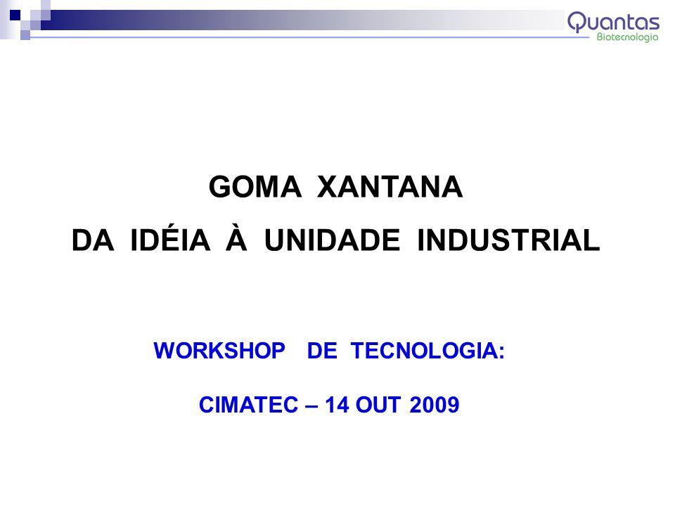 GOMA XANTANA DA IDÉIA À UNIDADE INDUSTRIAL WORKSHOP DE TECNOLOGIA: CIMATEC – 14 OUT 2009