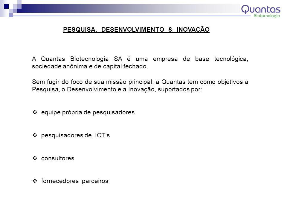 PESQUISA, DESENVOLVIMENTO & INOVAÇÃO A Quantas Biotecnologia SA é uma empresa de base tecnológica, sociedade anônima e de capital fechado. Sem fugir d